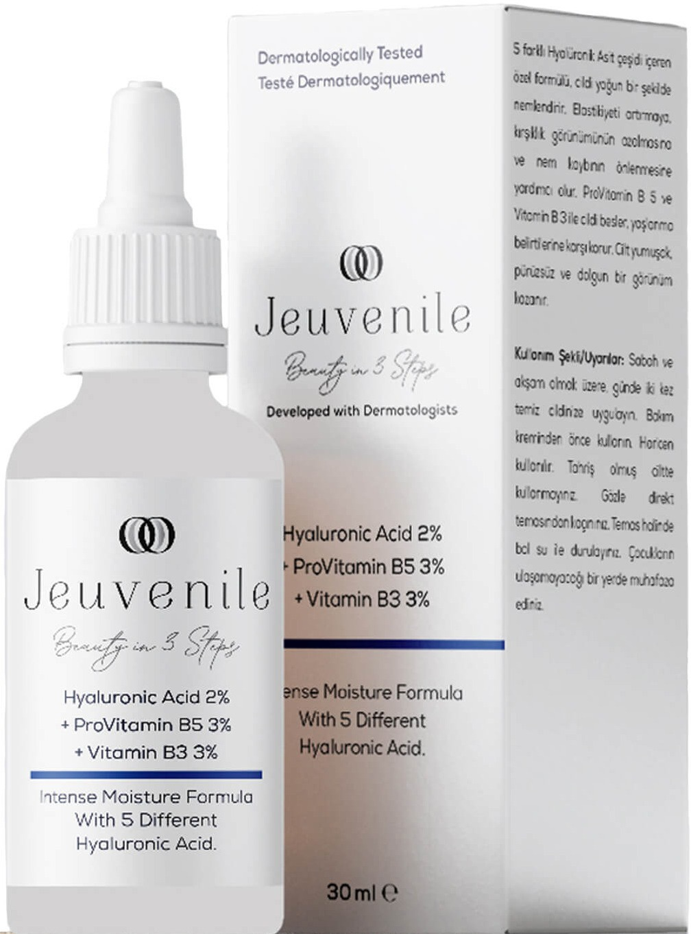 Jeuvenile Hyaluronic Acid %2 + Provitamin B5 %3 + Vitamin B3 %3 Yoğun Nemlendirici Serum