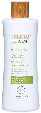 Raw Sugar Simply Body Wash Sensitive Skin, Green Tea + Cucumber + Aloe Vera