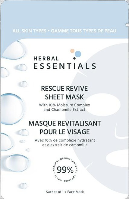 Herbal Essentials Rescue Revive Sheet Mask With 10% Moisture Complex & Chamomile Extract - Single Sachet