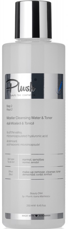 Plush Bio Micellar Cleansing Water & Toner With Lily Of The Valley And Microencapsulated Hyaluronic Acid
