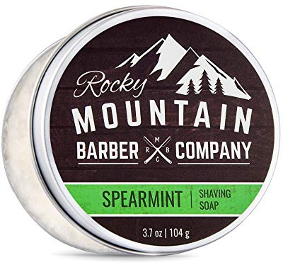Rocky Mountain Barber Company Shaving Soap - Traditional 100% Natural Spearmint Shave Soap - Long Lasting 3.7 Oz For Rich & Thick Lather Shaving Cream - For All Skin Types - Made With Spearmint, Eucalyptus & Spruce Oil