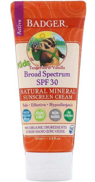 Badger Company Active Kids, Natural Mineral Sunscreen Cream, Spf 30 Pa+++