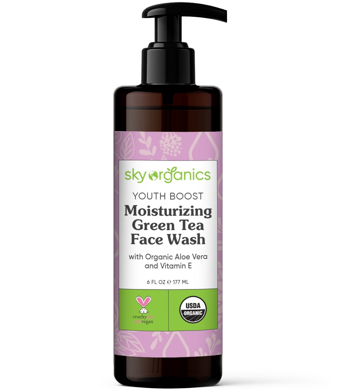 Sky Organics Youth Boost, Moisturizing Green Tea Face Wash