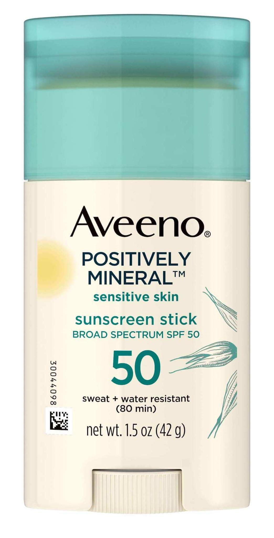 Aveeno Sensitive Skin SPF 50 Mineral Sunscreen Stick Broad Spectrum UVA+UVB