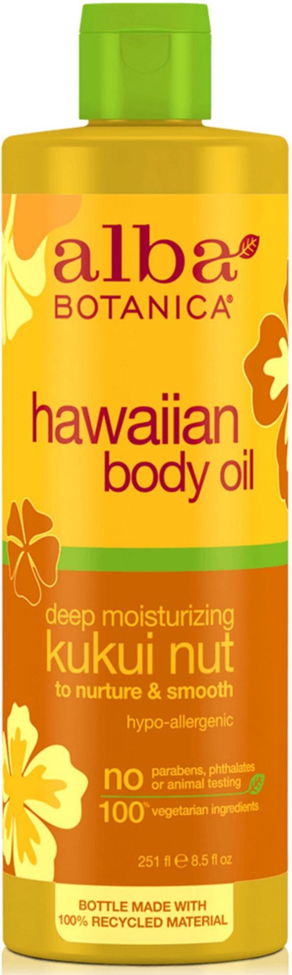 Alba Botanica Hawaiian Body Oil Deep Moisturizing Kukui Nut