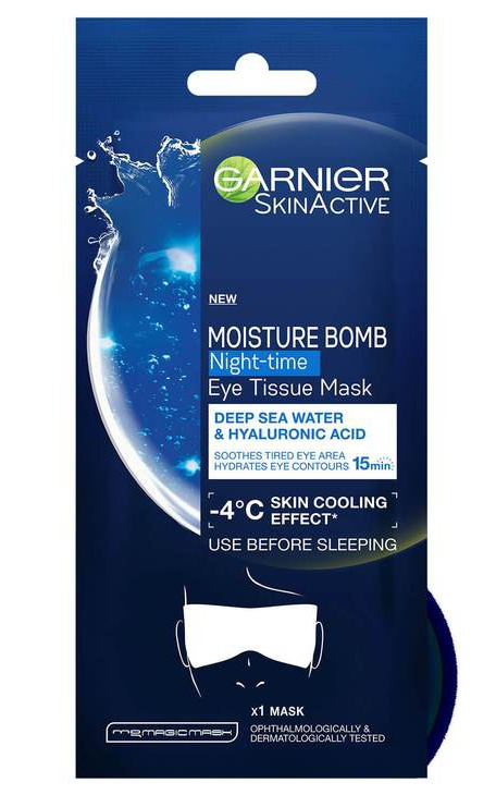 Garnier Night-Time Deep Sea Water And Hyaluronic Acid Eye Sheet Mask